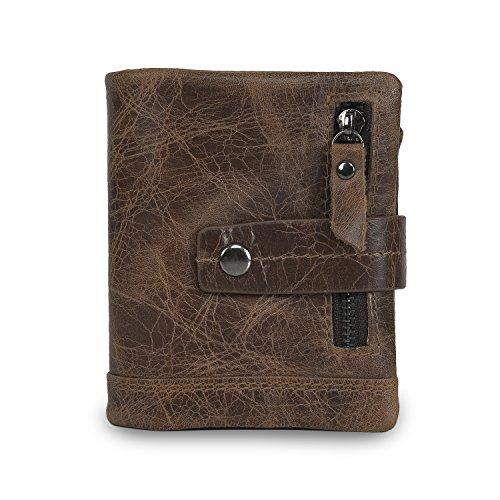 CloSoul Direct Herren Geldbörse aus achtem Leder mit Münzefach mit Reißverschluss hochformat Portemonnaie Geldbeutel khaki Braun 2