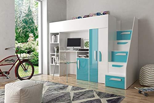Etagenbett für Kinder PARTY 14 Stockbett mit Treppe und Bettkasten KRYSPOL (Weiß + Türkisglanz)