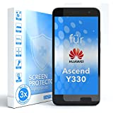 EAZY CASE 3X Bildschirmschutzfolie kompatibel mit Huawei Ascend Y330, nur 0,05 mm dick I Bildschirmschutz, Schutzfolie, Bildschirmfolie, Transparent/Kristallklar