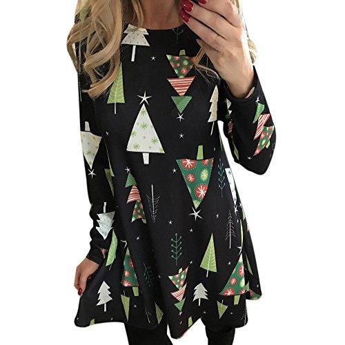 Robemon♚Élégant Robe de Noël Femme Manches Longues Impression Robes Femme Noël Longues Rétro Hepburn Style A-Line Parti Nuit Swing d'impression Robe Femme