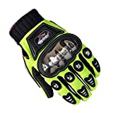 Motocicletas Para Hombres Guantes Acero Inoxidable Gota Cross Country Racing Caballeros Locomotive Racking Touch Screen Guantes Para Hombres,Green-M