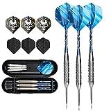 3 parti steeldarts frecce Set, 24 grammi pro steeldarts con argento punta metallica ferro antisdrucciolevole barile, FB3 manico in alluminio