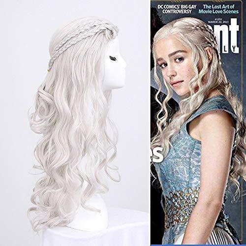 Car-TOBBY - Peluca de pelo largo rubio Daenery Targaryen Khaleesi Cosplay hecha a mano en color gris plateado