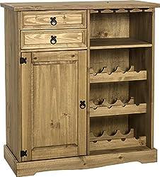 Seconique Corona Sideboard/Wine Rack Unit, Distressed Waxed Pine, 499.95x1109.95x189.95 cm