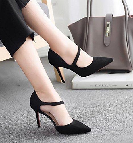 AJUNR Sandali da Donna alla Moda Una Bocca Poco Profonde Tutti-Match Sexy 8cm è Bene con i Tacchi Alti Scarpe Nere Scarpe,trentasei