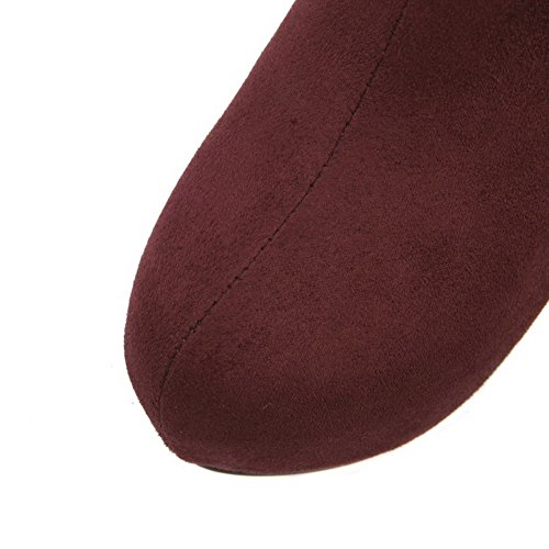 AgooLar Damen Reißverschluss Rund Zehe Stiletto Nubukleder Niedrig-Spitze Stiefel Rot
