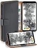 moex® Booklet mit Flip Funktion [360 Grad Voll-Schutz] für Samsung Galaxy S9 | Geldfach & Kartenfach + Stand-Funktion & Magnet-Verschluss, Dunkel-Grau