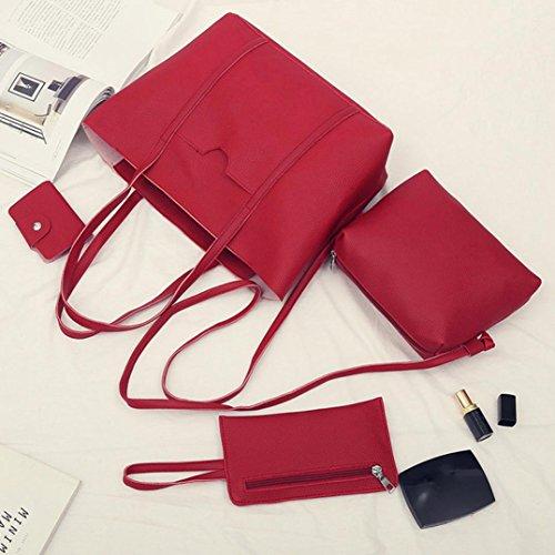 Quattro set borsetta spalla borse, donne quattro set borsetta spalla borse quattro pezzi tote bag crossbody portafoglio by Kangrunmy Rosso