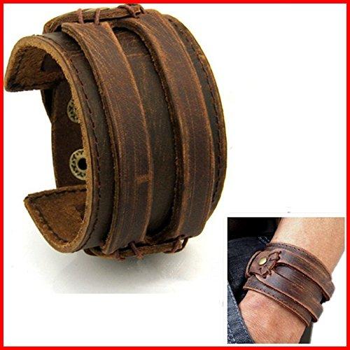 Bracelet Cuir HOMME FORCE Manchette MARRON Antique Style ROCK Johnny Deep
