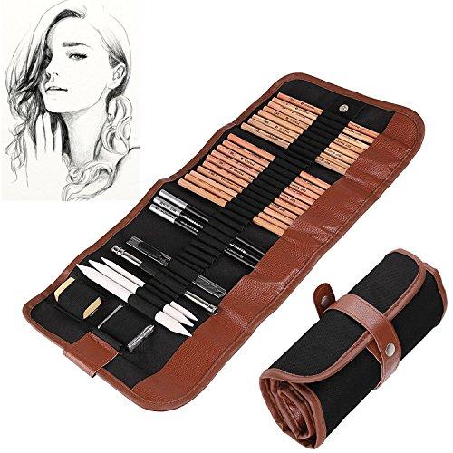 cofive-kit-de-18-crayons-pour-croquis-29-pieces-au-total-fusain-de-croquis-avec-rouleau-en-toile-pou