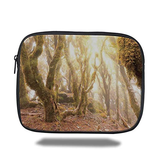 Tablet Bag for Ipad air 2/3/4/mini 9.7 inch,Rainforest Decorations,Morning Sun Rays Mist in Virgin Mountain Forest Moss on Trees Natural Paradise,Green Brown,Bag