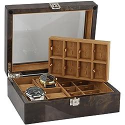 16Paar Manschettenknöpfe und 4-teiliges Armbanduhr Sammler Box in Licht Wurzelholz von aevitas