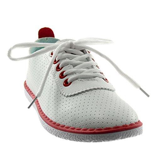 Angkorly Chaussures Mode Sneaker Tennis Femme Perforé Finition Points Stitching Talon Talon Plat 1.5 Cm Rouge