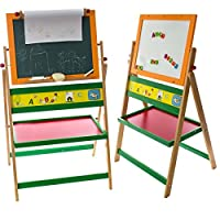 Jaymark Products Kids Art Double Sided Magnetic Whiteboard 2 in 1 with Paper Activity Fun Play Floor Standing 122cm Easel Stand Letters Chalkboard