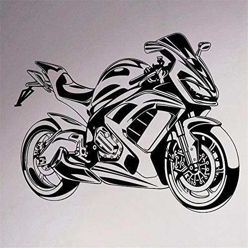 jiushizq Sport Fahrrad Wand Vinyl Aufkleber Motorrad Wandaufkleber Abnehmbare Garage Decor Teen Club Home Interior Schlafzimmer Cool Mu Schwarz 58x78 cm