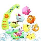 Zmoon Baby Angeln Badespielzeug, Kinder Kinder Kleinkinder Bad Wasser Spielzeug mit 1 Stück Magnetic Angelrute und 10 Stück Tier Spielzeug