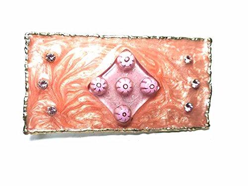 Artesanal Hebilla para cinturón 4cm, Esmalte salmón, Color Plata, Hebillas Metal o Piedras o Brillantes o esmaltes o Vetri Murrine Murano, PIU '1Llavero BSS CC2