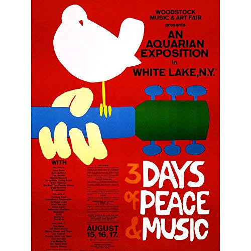 Wee Blue Coo LTD Music Festival Concert Woodstock Ny Peace Dove Love Legend Art Print Poster Wall Decor Kunstdruck Poster Wand-Dekor-12X16 Zoll