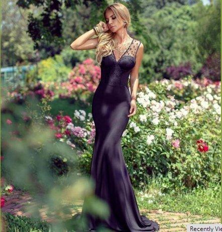 Vickyben Damen 2017 V-Ausschnitt Rueckerfrei Polka Chiffon Meerjungfrau Abendkleider Ballkleid Brautjungfernkleid Party kleid lang Burgundy