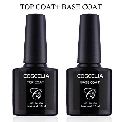 Coscelia Nail Art Base Coat Top Coat Nagel Kunst Primer Überlack+ Unterlack(Ohne schwitzschicht trocknet)