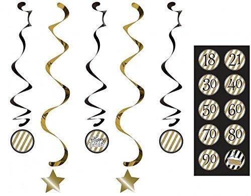 34 Teile Dekorations Set zum 60. Geburtstag oder Jubiläum – Party Deko in Schwarz & Gold - 5