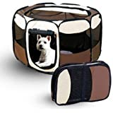 Topiauktore 8 Panel Portable Puppy Dog Pet Cat Playpen Crate Cage Kennel Tent Play Pen Size M