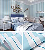 Blau und Weiß Gestreift Dekorative Vinyl Kontakt Papier selbst mit Lösungsmittel Regalen schälen und Stick Tapete für Kinder Kinderzimmer Schlafzimmer Wand Deal 60,5cm von 16Füße