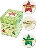 Avery Zweckform 56824 Sticker auf Rolle, Weihnachtssterne (38 mm, im Spender) 50 Aufkleber