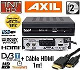 Décodeur TNT HD AXIL RT407 tuner TNT DVB-T multimédia avec port USB +Câble HDMI 1m + Câble péritel OPENSYS!