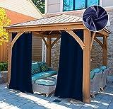 UniEco Outdoor Vorhang Schlaufengardinen Gartenlauben Balkon-Vorhänge Verdunkelungsvorhänge Wasserdicht Mehltau beständig für Pavillon Strandhaus, 1 Stück,132x215cm,Dunkelblau