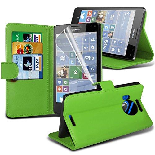 Étui pour Microsoft Lumia 950 Titulaire de téléphone Case voiture universel Mont Cradle Dashboard & pare-brise pour iPhone yi -Tronixs Wallet + Pen( Green )