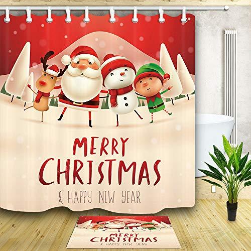 XHWL767 Cartoon Weihnachtszeichen Puppe Duschvorhang Badezimmer wasserdicht FabricBadezimmerzubehör