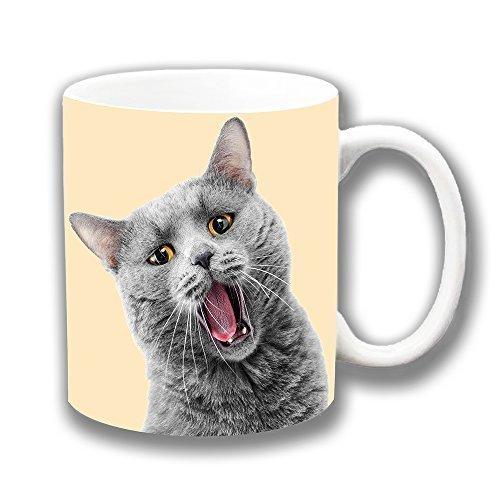 Lustige Grau Motiv Katze Schließen Bernstein Augen Kurzhaar Britische Keramik Tasse für Tee Kaffee Einzigartiges Geschenk