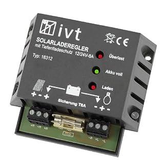IVT 200032 Solar-Laderegler 12/24V 6/6A im Kunststoffgehäuse Ladegerät für Solarbatterien
