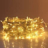 Ulinek 50m Licht Lichterkette mit 250 LED-Lämpchen, Hohe Qualität, 8 Lichteffekte, Innen und Außen, Wasserdicht, Dekoration für Party, Garten, Weihnachten, Halloween, Hochzeit (Warmweiß)