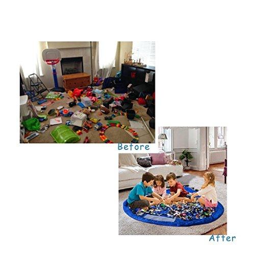 Flikool Portable Toy Storage Bag Juguetes Almacenamiento Bolsa Organizador de Juguetes Toy Organizer Children Play Mat Ninos Juego Alfombra Diametro 150cm - Azul