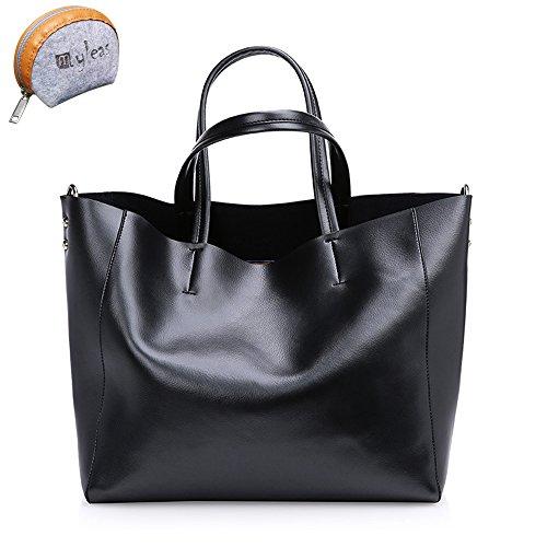 Myleas Femmes Sac en cuir véritable sac à bandoulière Tote Noir