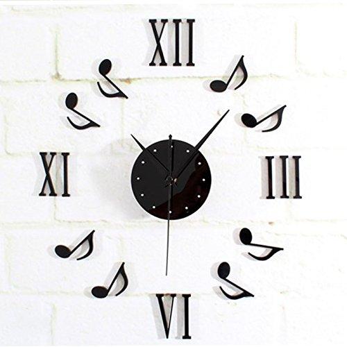Preisvergleich Produktbild DIY Wanduhr Musik Notation Kombination Dekoration Aufkleber Wand 3D Uhr LuckyGirls (Schwarz)