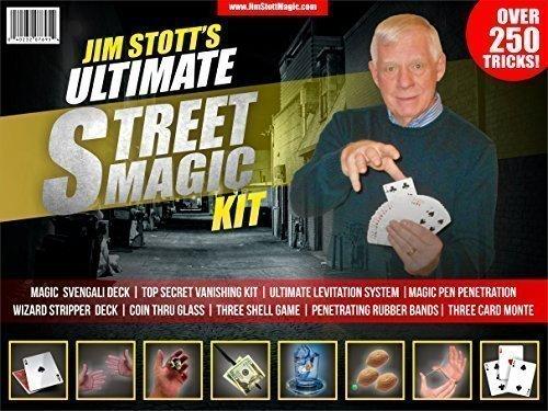Jim Stott Magic Ultimative Street Magic Kit, Set Zaubertricks für Erwachsene, Svengali Card Deck, The Ultimate Levitation-System, geheime Fluchtgerät, Eindringende Gummibänder -