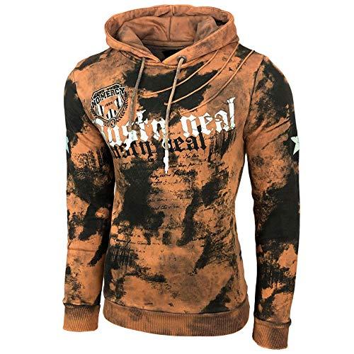 Baxboy Herren Pullover Hoodie Sweatjacke Longsleeve Sweatshirt Jacke Langarm Kapuzenpullover Hoody Sweater 19078, Größe:L, Farbe:Camel - Für Immer Hoody Sweatshirt