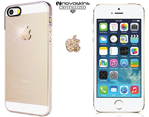 iphone-5s-5-novoskins-everclear-crystal-trasparente-case-con-gold-oro-cristallo-metal-logo-adesivo-d