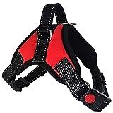 Lantra Besa Hochwertige Hundegeschirr Harness Weste für Kleine/Mittlere/Große Hunde - Verstellbar Reflektierend und Gepolstert Typ 1 - Rot, XL
