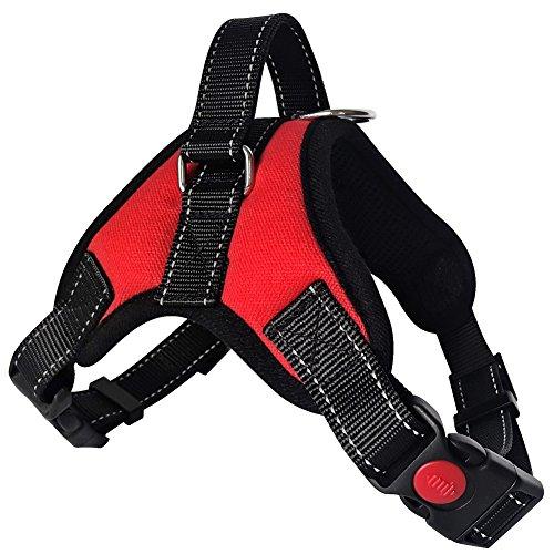 Lantra Besa Hochwertige Hundegeschirr Harness Weste für Kleine / Mittlere / Große Hunde - Verstellbar Reflektierend und Gepolstert Typ 1 - Rot, - Geschirre Welpen