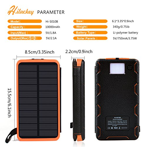 Hiluckey Solar Ladegerät 10000mAh Tragbare Power Bank Outdoor 3 solarzelle 2-output faltbar wasserdicht Externe Akku mit LED Taschenlampe für Samsung Galaxy,iPhone,iPad,Andriod Smartphones,usw. - 5