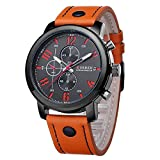 Homme Mode Montre - CURREN Homme Mode PU Cuir Alliage Sport Quartz Analogique Montre Bracelet etanche, Orange
