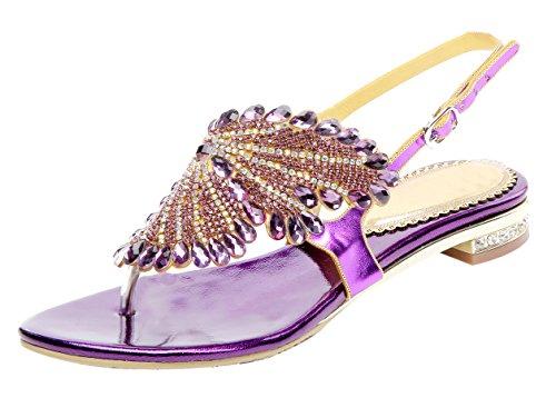 Glitzer Niederiger Absatz Sandalen mit Strass Kristall Schuhe Violett 41 EU (Funkelnde Leggings)