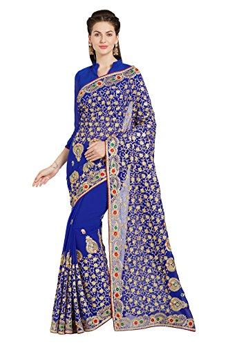 Seta Georgette da Sposa per Donna Saree Mirchi Sari Indiano Ricamato Moda (5231_Royal Blue)