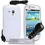 YouSave Accessories SA-EA01-Z955C Pack de Coque en silicone gel + Chargeur allume-cigare + Film de protection d'écran pour Galaxy S3 Mini