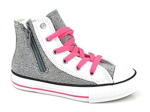 Converse Chuck Taylor All Star Hi Side Zip Textile Glitter filles, cuir lisse, sneaker high, 22 EU