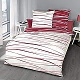 Kaeppel 2-teiliges Perkal Wende - Bettwäsche Set mit Reißverschluss in 135x200 + 80x80 cm Design Motion 584 in der Farbe P32 Karmin rot weiß gestreift Streifen
